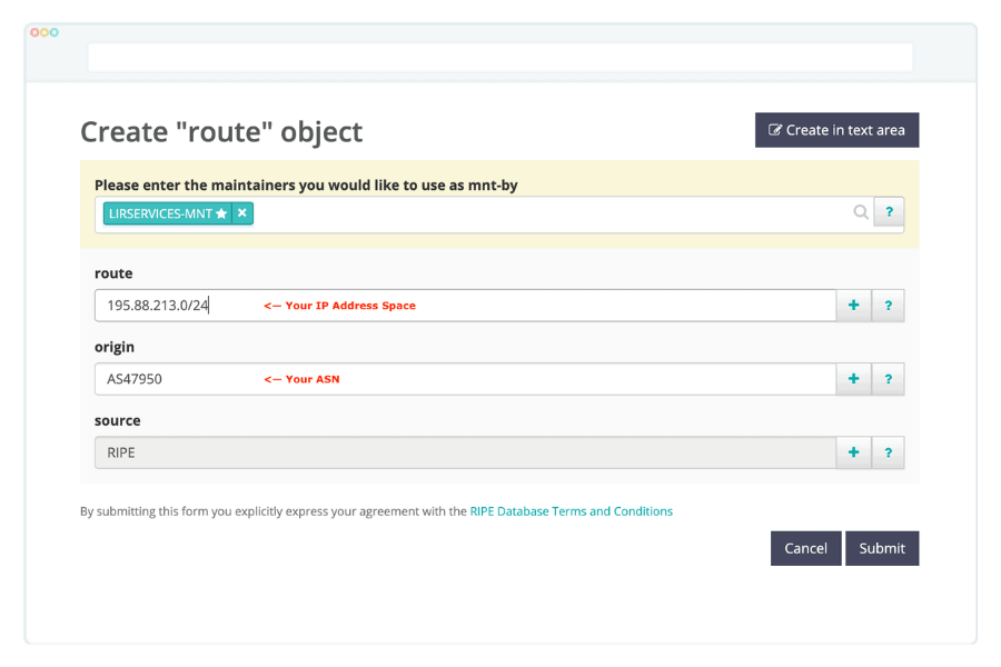 Creating a route object in RIPE whois